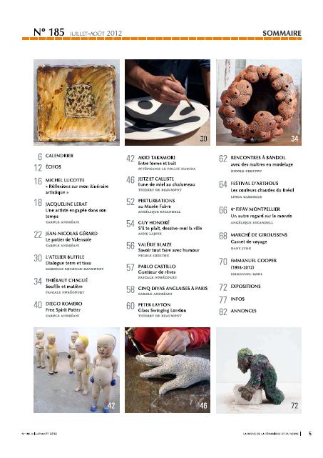 Sumario de la revista Revue de la Céramique et du Verre