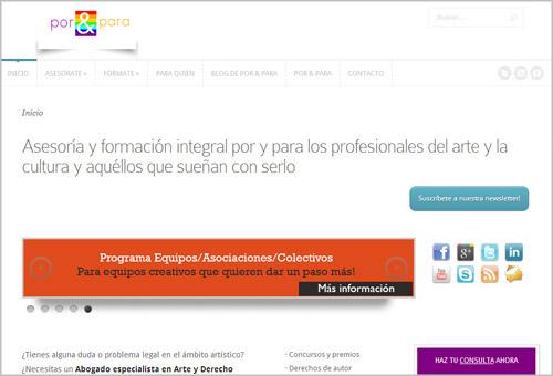 """Captura de pantalla de la página web """"Por&Para"""""""