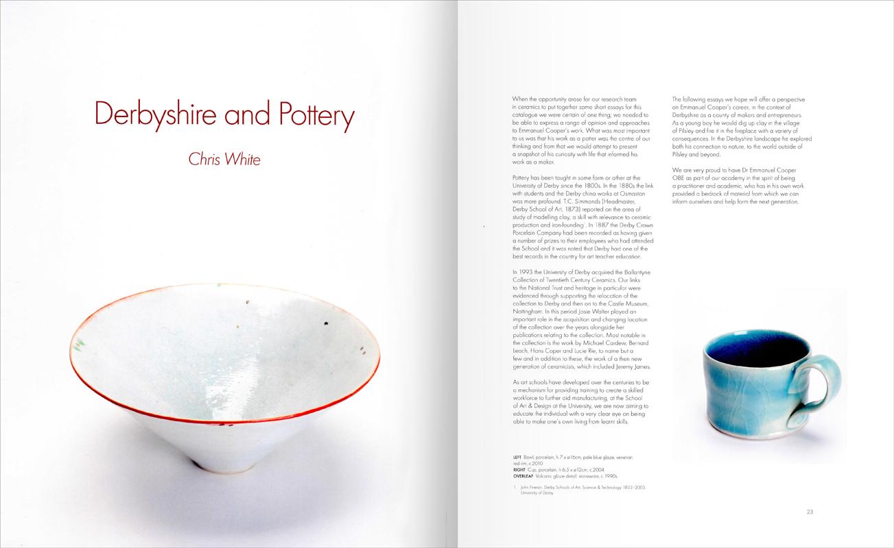Páginas interiores del libro Emmanuel Cooper OBE 1938-2012