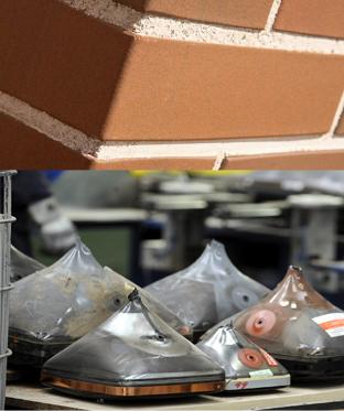 Foto de ladrillos de gres y vidrio reciclable