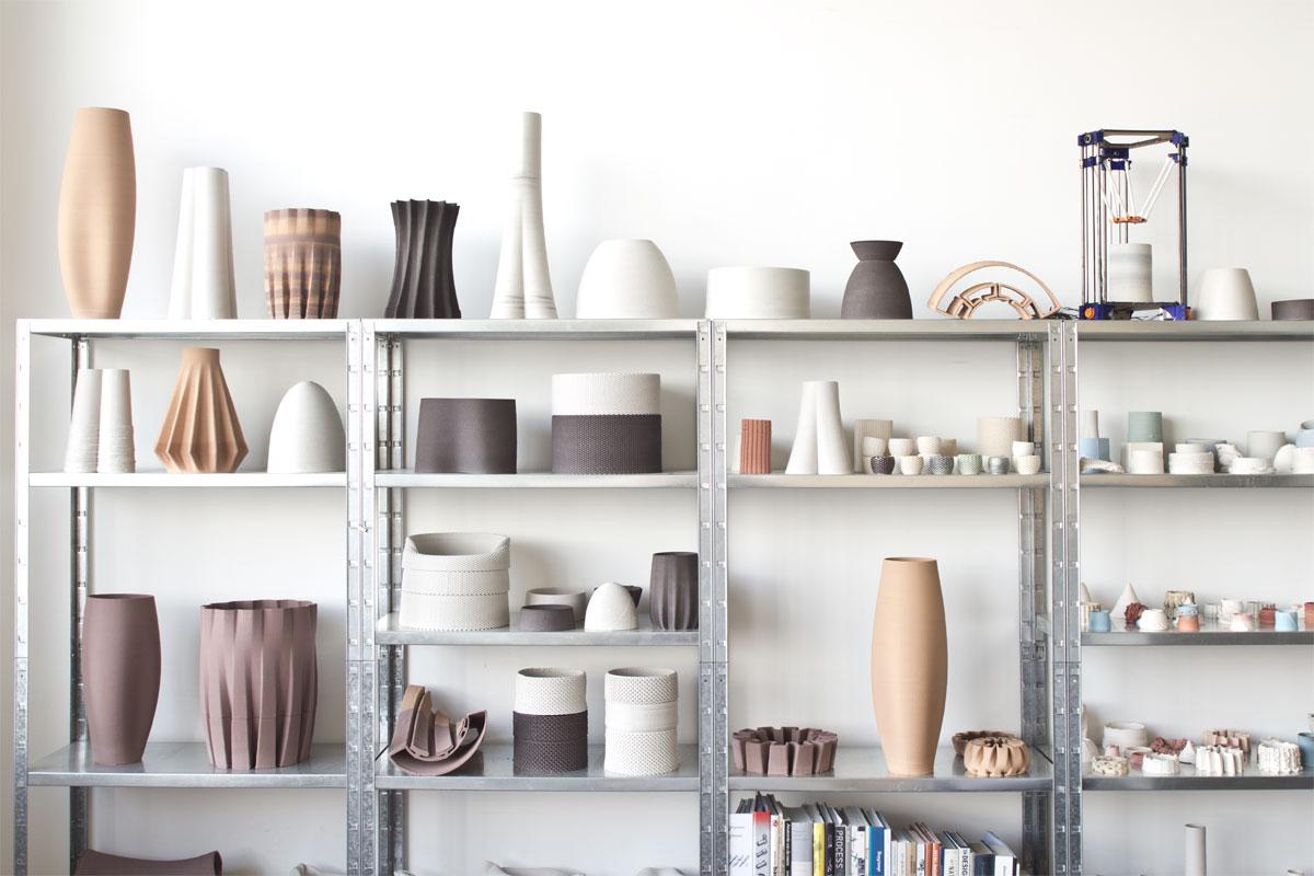 Piezas de cerámica de Olivier van Herpt realizadas con Impresora 3D