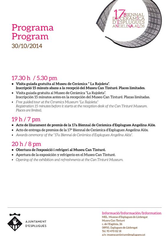 Programa de la 17 Biennal de Ceràmica de Esplgues