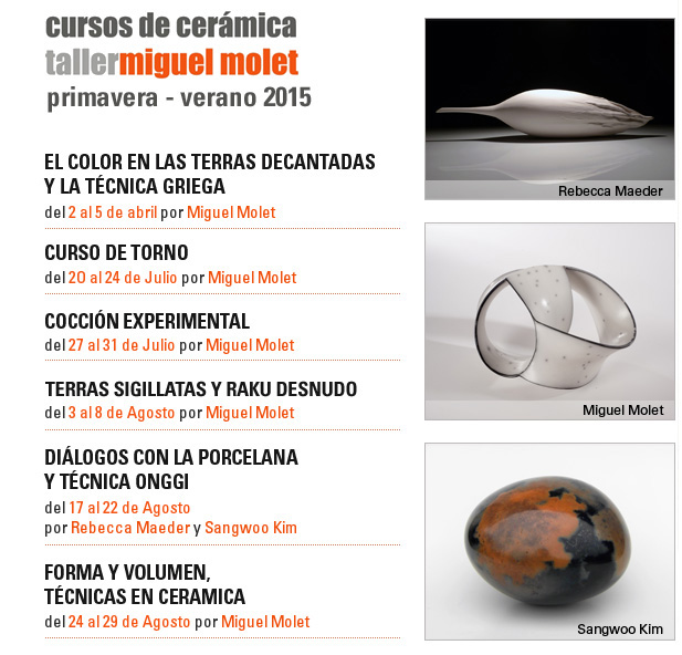 Programa de cursos de Miguel Molet en 2015