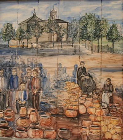Foto de mural cerámico colocado en el recinto de la feria de de cerámica de Ponferrada