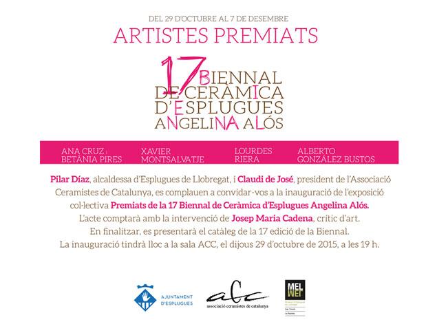 Cartel de la exposición de premiados en la bienal de cerámica de esplugues