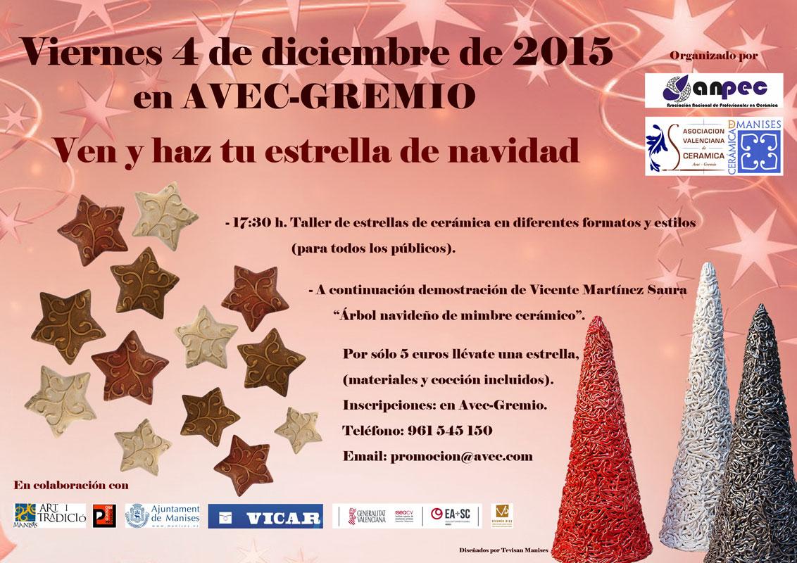 Cartel del taller de cerámica navideña de AVEC-Gremio