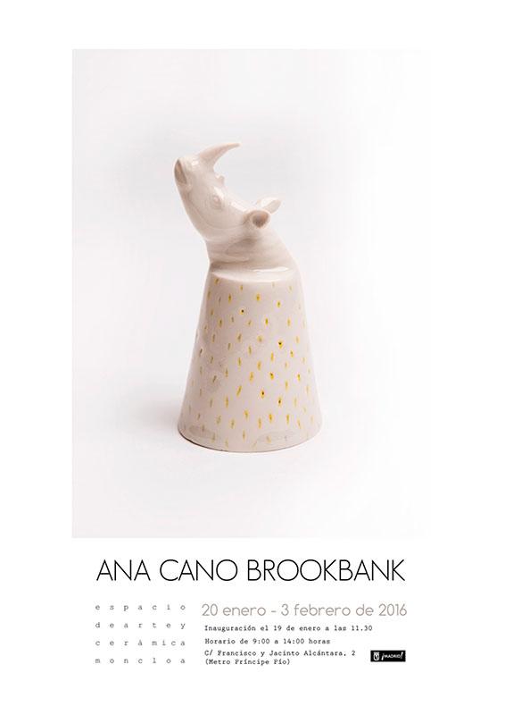 Cartel de la exposición de cerámica de Ana Cano Brookbank