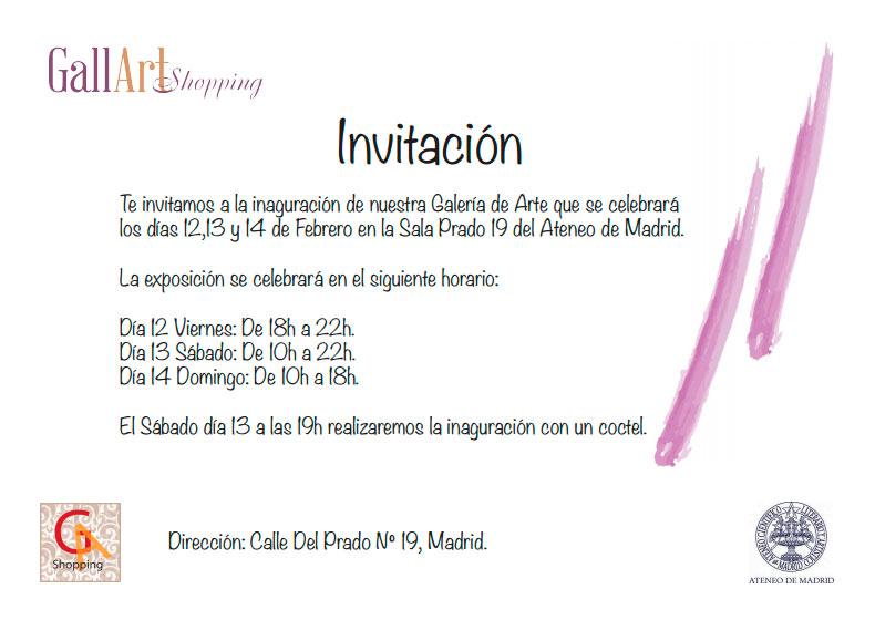 Invitación de la Galería Gallarte Shopping