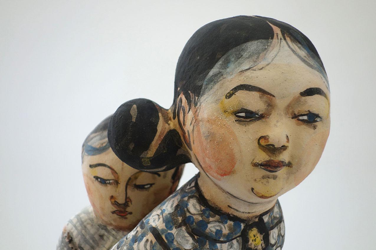 Detalle de pieza de cerámica de Akio Takamori en la galería Kus¡nstforum Solothurn, Suiza