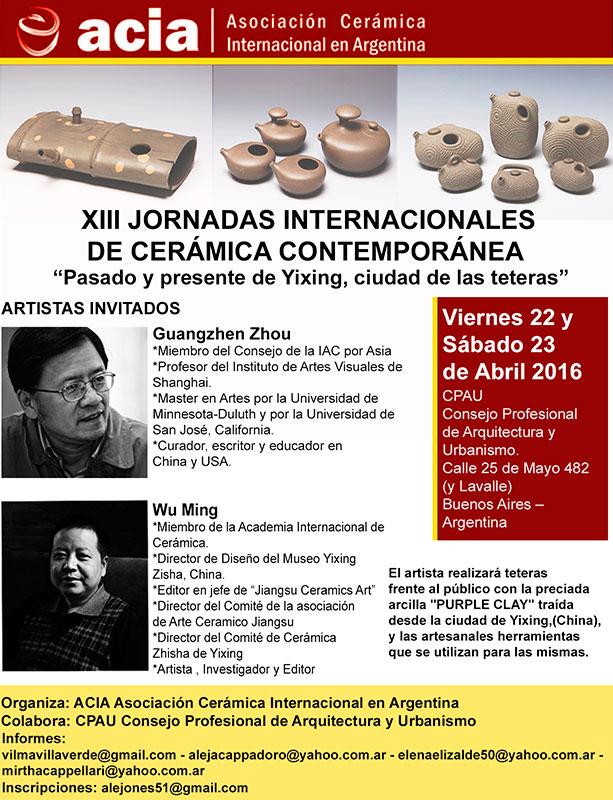 Cartel de las Jornadas Internacionales de Cerámica Contemporánea, de Buenos Aires