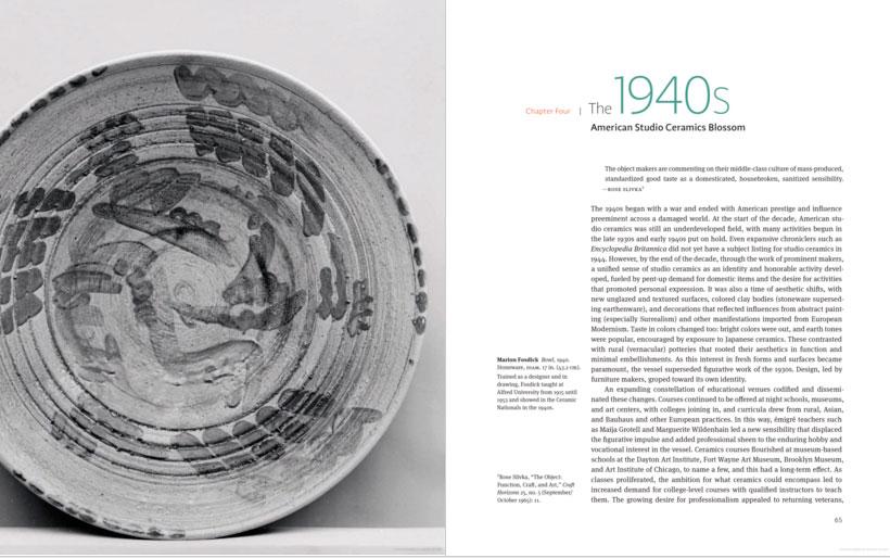 Páginas interiores del libro American Studio Ceramics
