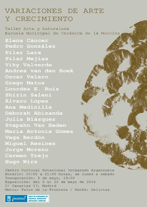 Cartel de la exposición de alumnos de la escuela de cerámica de La Moncloa, Madrid