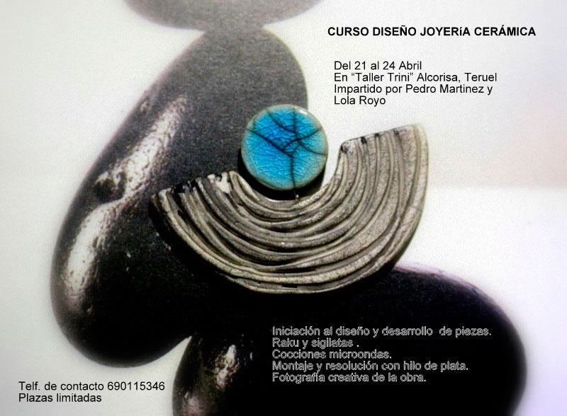 Cartel del curso de joyería cerámica