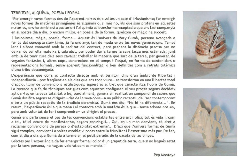 Texto de Pep Montoya sobre la cerámica de Mary Gumà