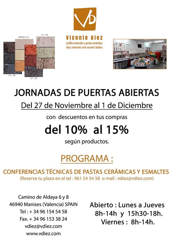 Cartel de las Jornada de puertas abiertas en Vicente Díez, S.L.