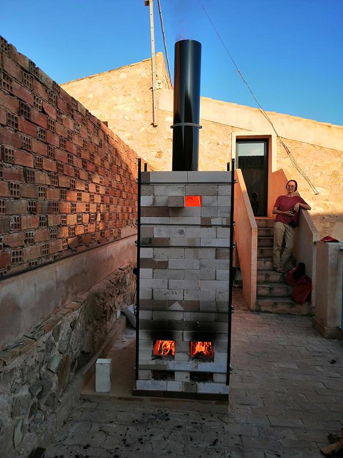 Construcción de horno de leña