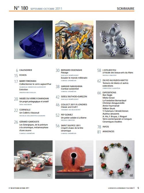 """Sumario de la revista """"La Revue de la Céramique et du Verre"""""""
