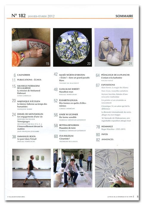 "Sumario de la revista francesa ""La Revue de la Céramique et du Verre"""