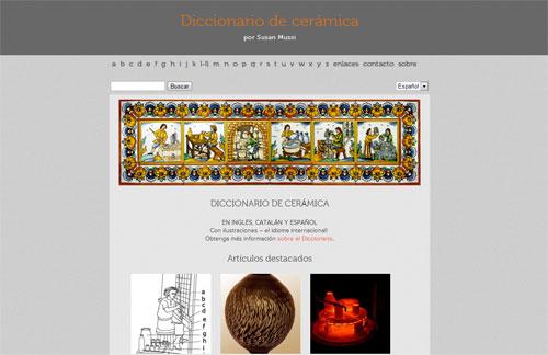 captura de pantalla de la página web del diccionario de cerámica