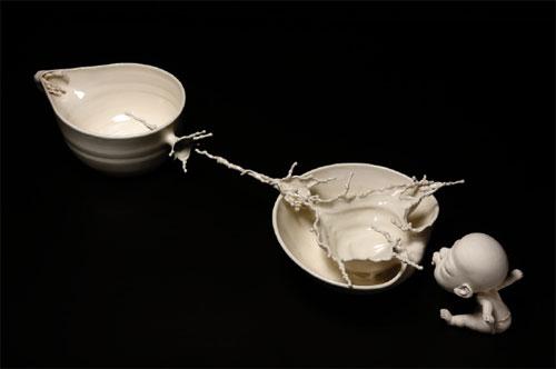 Escultura en porcelana de Zhang Cheng