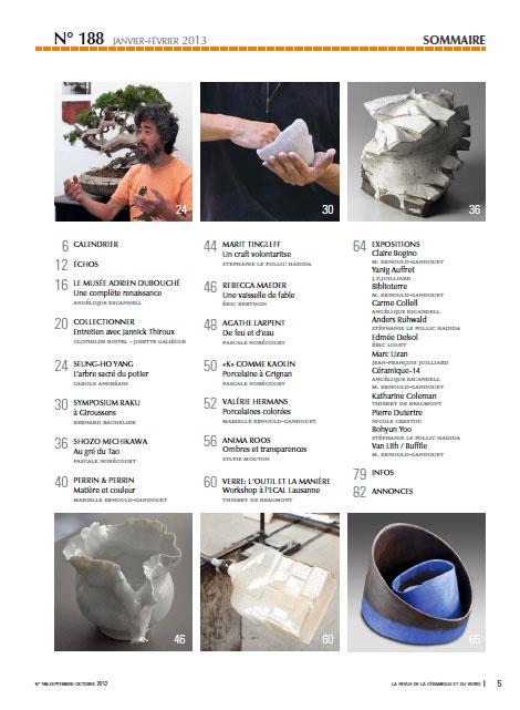 """sumario de la revista """"La revue de la ceramique et du verre"""""""