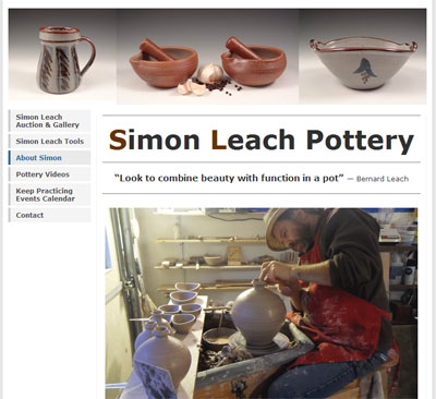 Captura de pantalla de la página web de Simon Leach