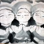 """Pintura """"Sumi-e"""" realizada por Masakazu Kusakabe"""