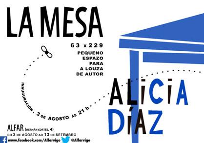 """Cartel de la exposición """"La mesa: Alicia Díaz"""""""