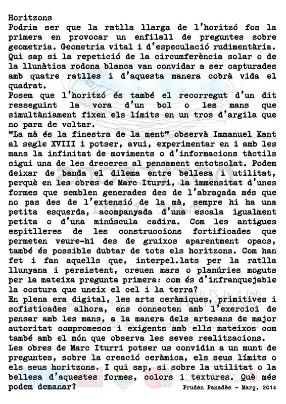 Texto en catalán de presentación de la exposición de Marc Iturri