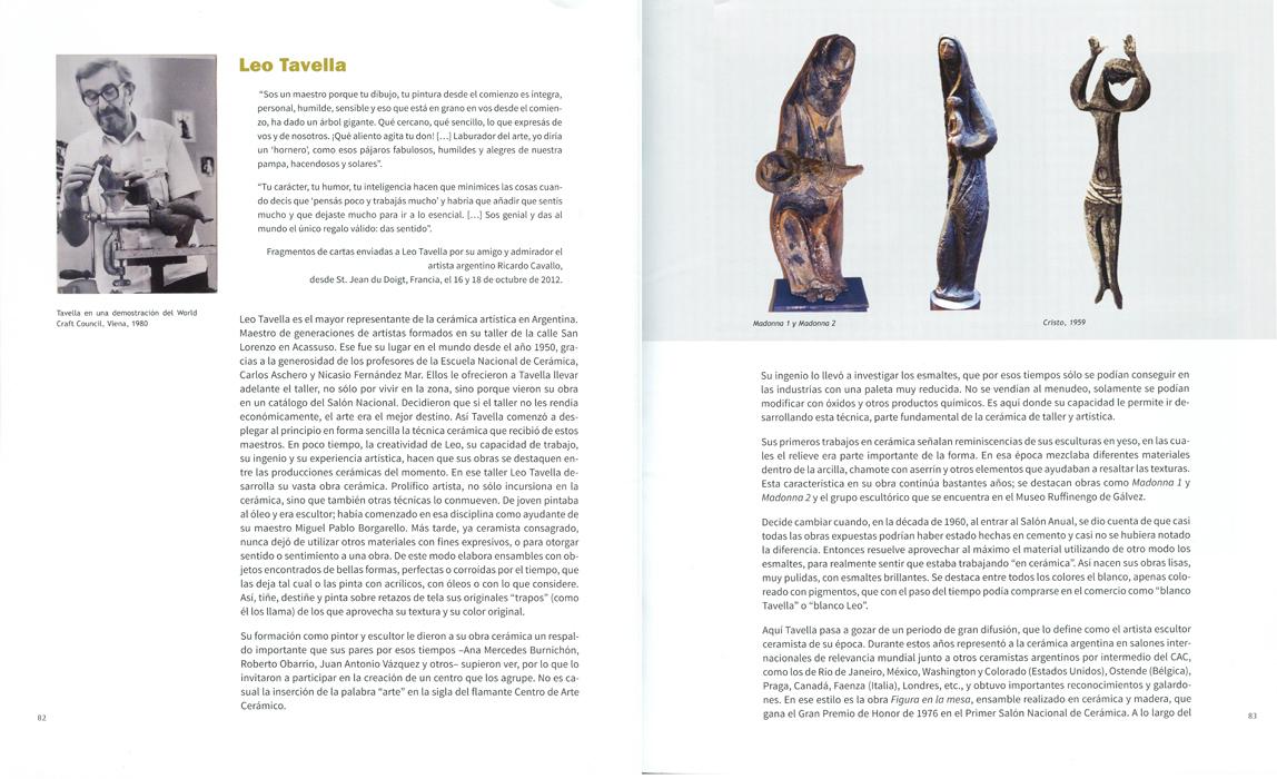 Páginas interiores del libro -Arte cerámico en Argentina-, de Vilma Villaverde