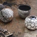 Piezas de cerámica de raku desnudo