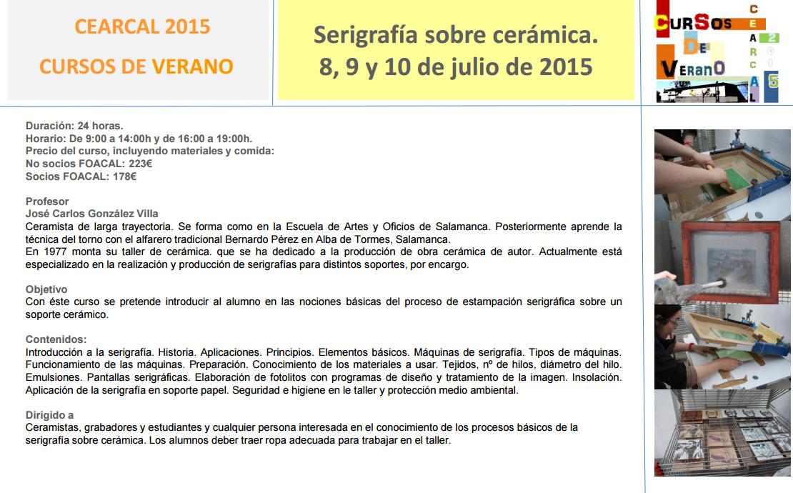Programa del curso de serigrafia en CEARCAL
