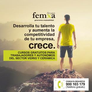 Cartel de promoción de los cursos online del grupo Femxa