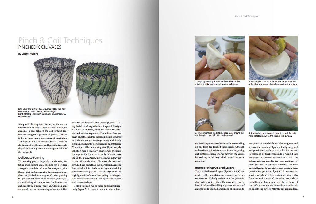 Páginas interiores del libro Handbuilding and Techniques, de la editorial americana American Ceramic Society