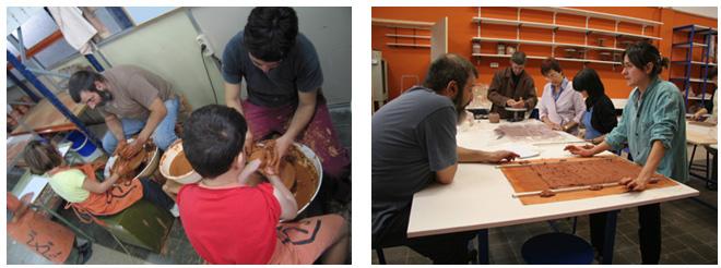 Imagen de las clases de cerámica en el Museu del Càntir de Argentona