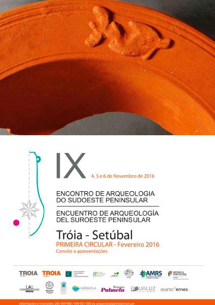 Cartel de los Encuentros de Arqueología del Suroeste Peninsular en Troia y Setúbal (Portugal)