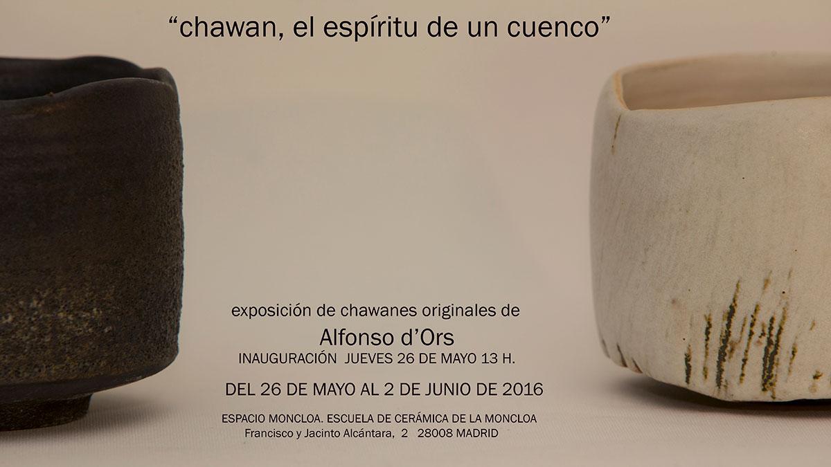Cartel de la exposición de Alfonso d'Ors en la escuela de Cerámica de La Moncloa, en Madrid