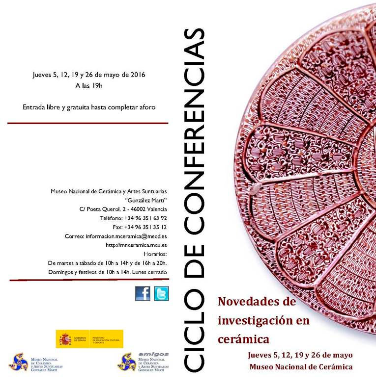 Cartel del ciclo de conferencias del Museo de cerámica de Valencia