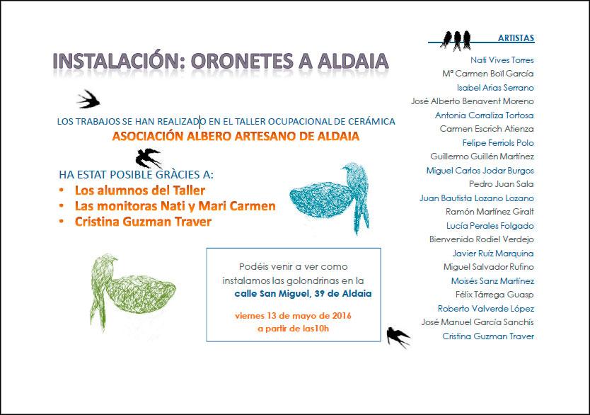 cartel de la instalación -Orenetes a Aldaia-