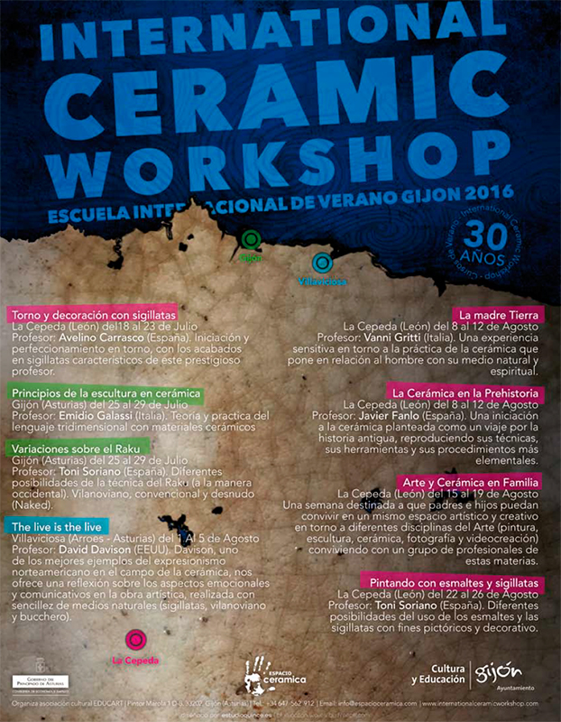 Cartel de los cursos de verano del -International Ceramic Workshop-