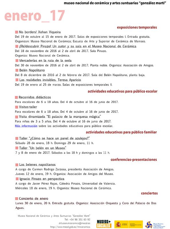 Programa de enero de 2017 del Museo de Cerámica de Valencia