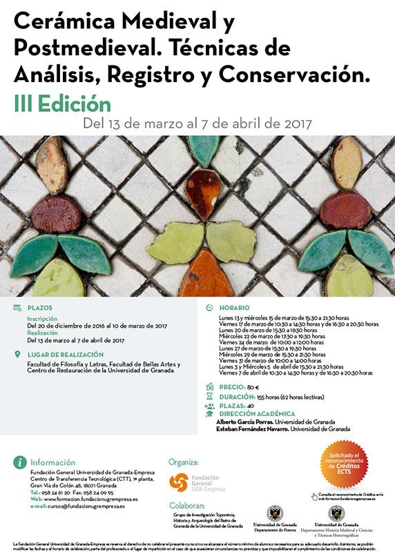 cartel del curso de cerámica