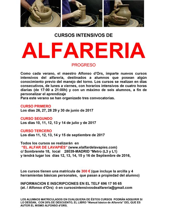 cartel del curso de alfarería de Alfonso d'Ors