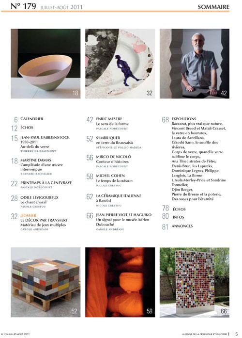sumario de la revista La revue de la céramique