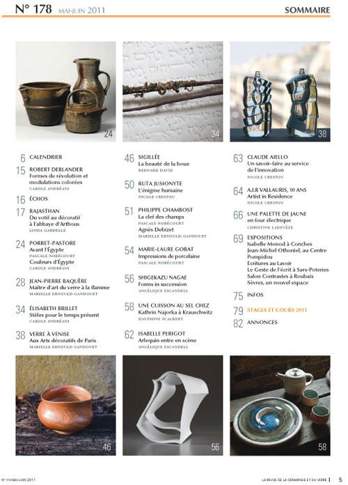 sumario de la revista La revue de la Céramique et du verre